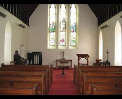 Inside the chapel at Bowness cemetery