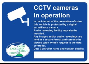 Signage for CCTV in licensed vehicles